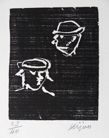 Woodcut Kijno - Verlaine et Rimbaud