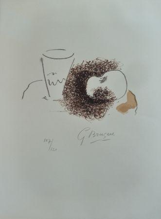 Lithograph Braque - Verre et pomme