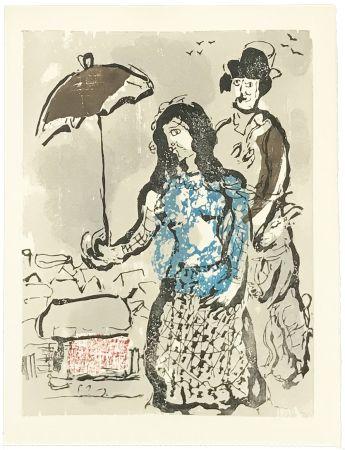 Woodcut Chagall - VERS LA RIVE (