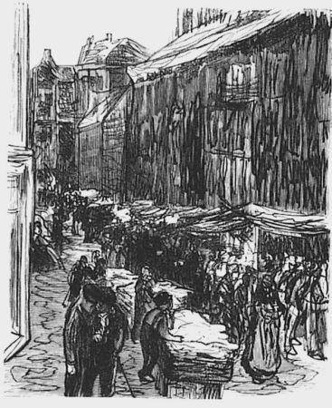 Woodcut Liebermann - Via del ghetto ad Amsterdam