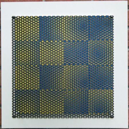 Woodcut Asis - Vibration 16 carres bleu et jaune
