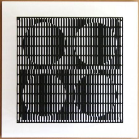 Woodcut Asis - Vibration 4 cercles noir et blanc
