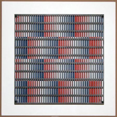 Woodcut Asis - Vibration bandes bleus et rouges