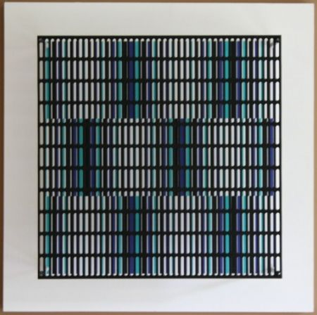 Woodcut Asis - Vibration bandes noir, bleu et turquoise