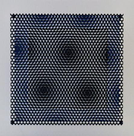 Woodcut Asis - Vibration carré noir et bleu