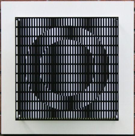 Woodcut Asis - Vibration cercles noir et blanc
