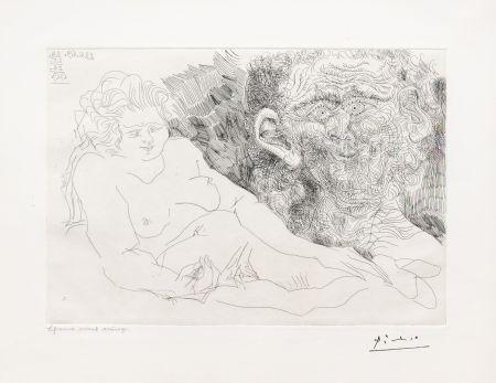 Etching Picasso - Vieux Peintre et Vieux Modele
