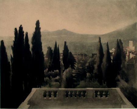 Mezzotint Ilsted - View from Villa D'Este
