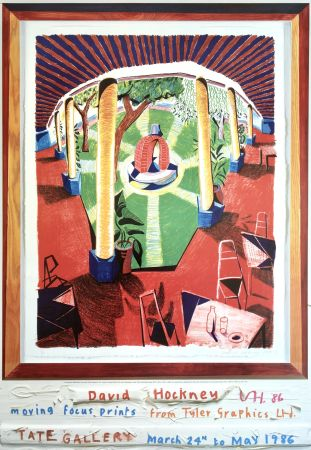 Lithograph Hockney - 'Views of Hotel Well III' Hand Signed Exhibition Poster 1986