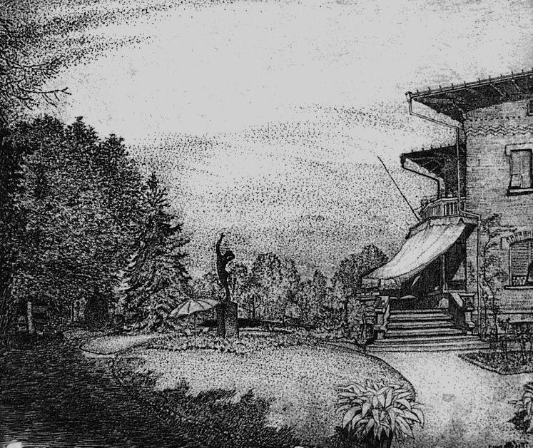 Engraving Bozzetti - Villa Colonna. Il giardino