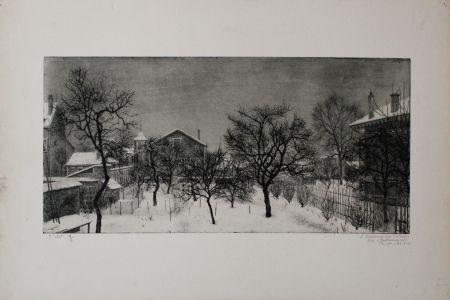 Etching And Aquatint Ciry - Village en hiver