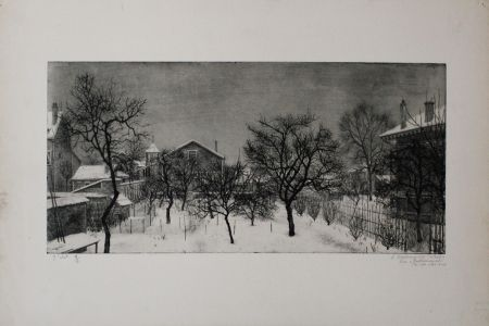 Etching And Aquatint Ciry - Village en hiver