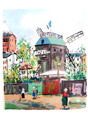 Lithograph Utrillo - Village inspiré de Montmartre