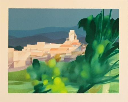 Lithograph Defossez - Village Mediterannen