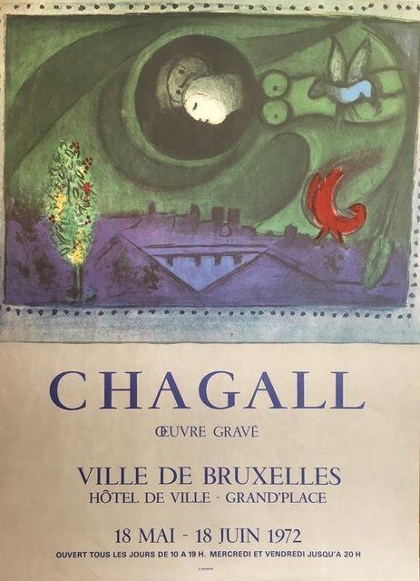 Lithograph Chagall (After) - VILLE DE BRUXELLES