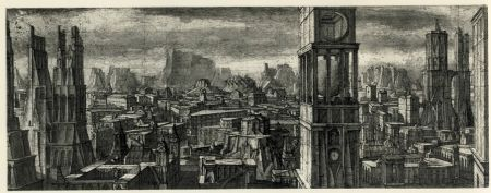 Etching And Aquatint Desmazières - Ville Imaginaire II