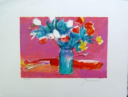 Lithograph Guiramand - Violon et Bouquet