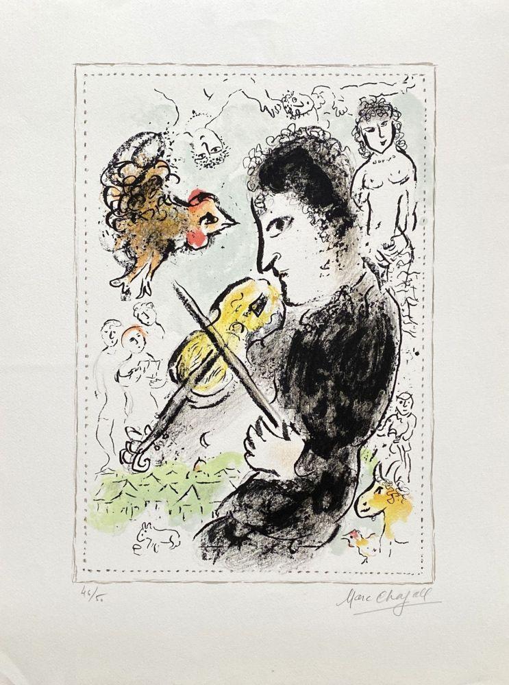 Lithograph Chagall - Violoniste au coq