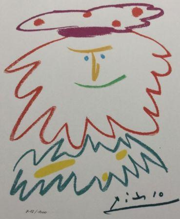 Lithograph Picasso (After) - VISAGE BARBU (1958)