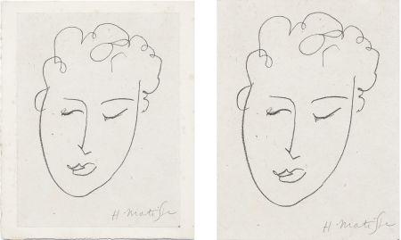 Lithograph Matisse - VISAGE DE FEMME. Pour Jules Romains : Pierres Levées, poèmes. Paris 1948
