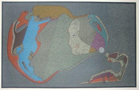 Lithograph Chemiakin - Visage monde
