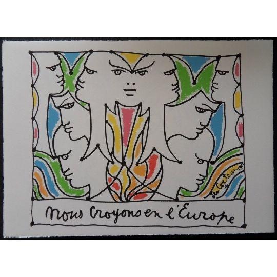 Lithograph Cocteau - Visages l'Europe