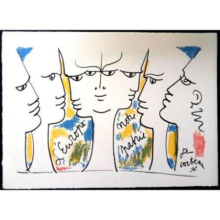 Lithograph Cocteau - Vision de Jean Monnet