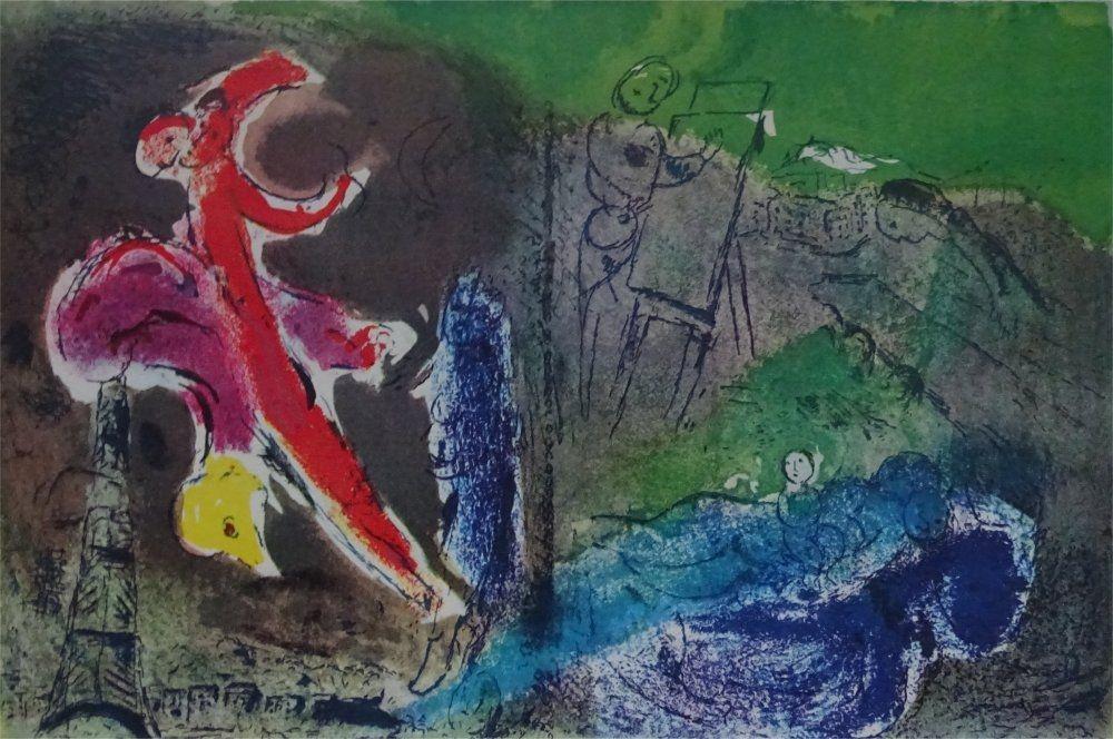 Lithograph Chagall - Vision de Paris, 1952