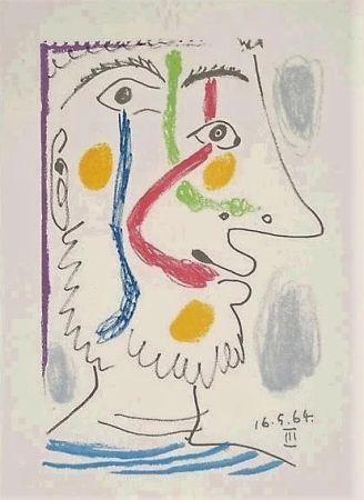 Lithograph Picasso - Viso colorato