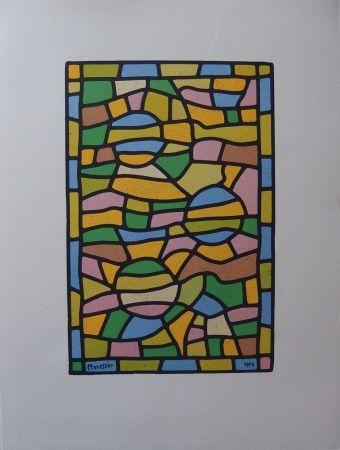 Lithograph Manessier - Vitrail