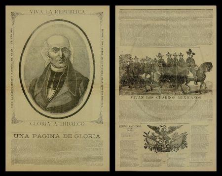 Woodcut Posada - Viva la Republica - Gloria a Hidalgo/Vivan Los Charros