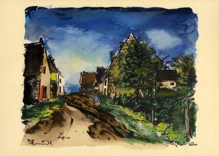 Pochoir Vlaminck - Vlaminck Paysage d'Île-de-France (1953) de l'album : Douze Contemporains par J. Lassaigne (1959)