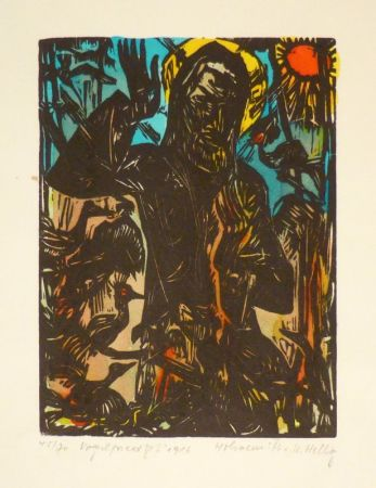Woodcut Helbig - Vogelpredigt.