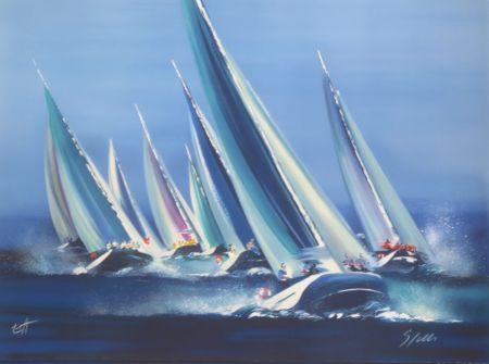 Lithograph Spahn - Voiles bleues