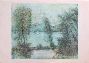 Lithograph Gantner - Voiliers sur le lac