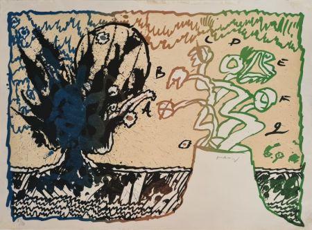 Lithograph Alechinsky - Volcan alphabétique
