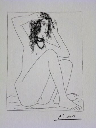 Lithograph Picasso - Vollard, Seated Nude Crowning Herself With Flowers