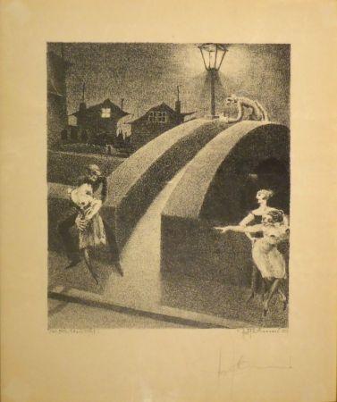 Lithograph Tschumi - Vorstadtnacht