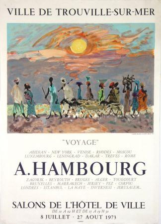 Lithograph Hambourg - Voyages  Hotel de Ville de Trouville