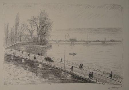 Engraving Marquet - Vue de deux Ponts (L'île Rousseau, Genève).