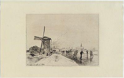 Etching Jongkind - Vue de la ville de Maassluis, in Eaux-fortes modernes publiées par la Société des Aqua-fortistes.