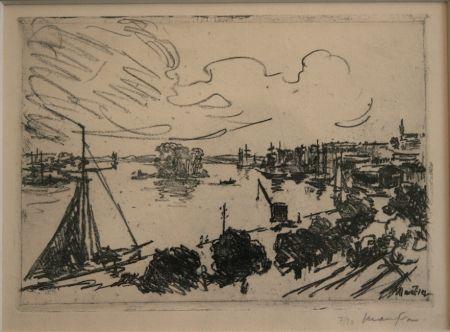 Lithograph Maufra - Vue de Port.