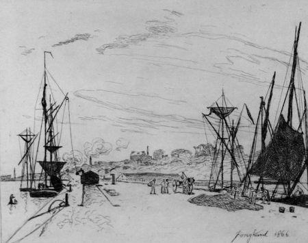Engraving Jongkind - Vue du port au chemin de fer a Honfleur