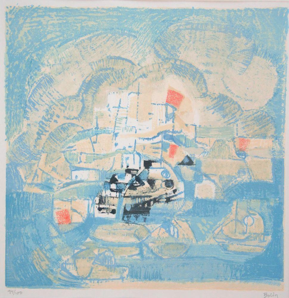 Lithograph Bolin - Vue d'un port