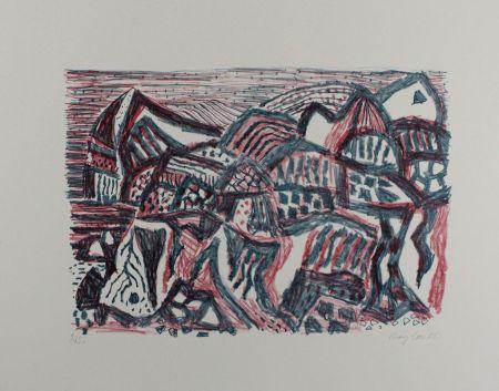 Lithograph Bargheer - Vulkanische Landschaft