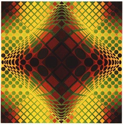 Screenprint Vasarely - VY-47-C, from the portfolio Gaia, (1975)