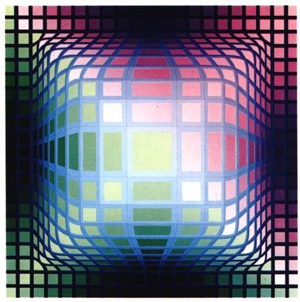 Screenprint Vasarely -  VY-47-E, from the portfolio Gaia, (1975)