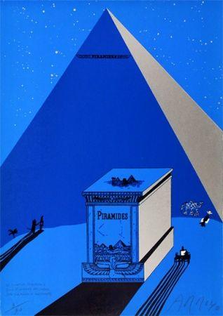 Lithograph Arroyo - W. Churchill, Napoleone e Saul Steinberg all 'ombra delle Piramidi a Mezzogiorno