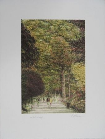 Lithograph Altman - Walking in Central Park