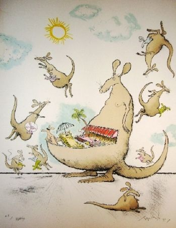Lithograph Searle - Wallabys